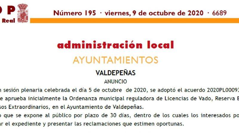 ORDENANZA MUNICIPAL REGULADORA DE LICENCIAS DE VADO, RESERVA ESPECIAL Y USOS EXTRAORDINARIOS