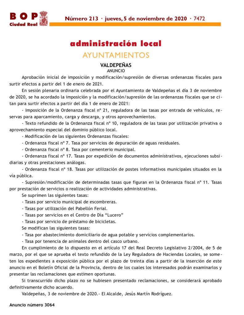 BOP Ciudad Real nº 213 del Jueves 5 de noviembre de 2020